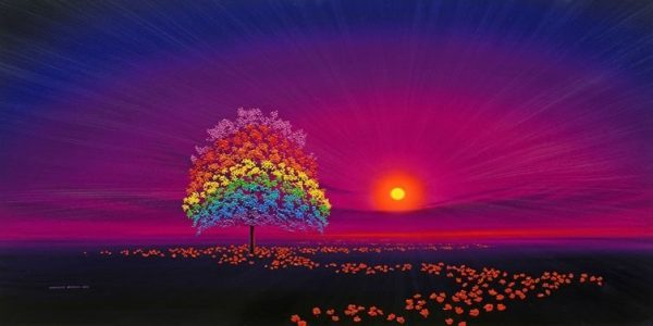 Rainbow Tree & Poppies in Magenta Sky (Landscape)