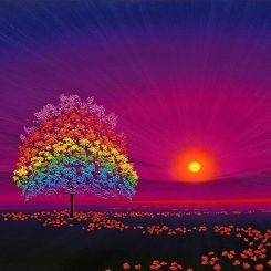 Rainbow Tree and Poppies in Magenta Sky
