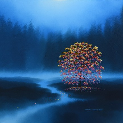 Rainbow Tree in a Forest Clearing