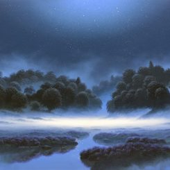 Pathway Through Moonlit Mist, blue square