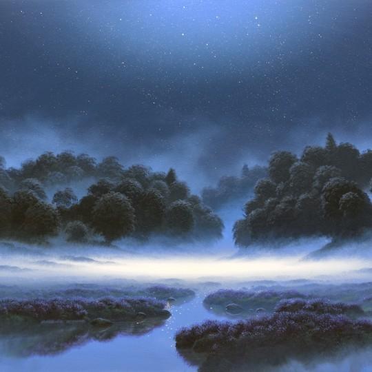 Pathway Through Moonlit Mist, blue square
