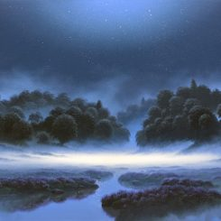 Pathway Through Moonlit Mist, blue landscape