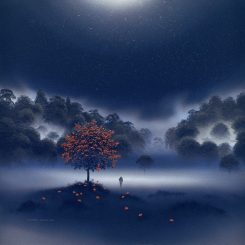 Home through Moonlit Mist, blue square