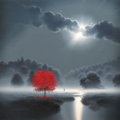 Red tree in the moonlight